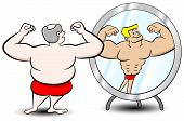 pic of obese man  - vector illustration of a fat man who sees himself differently in the mirror - JPG