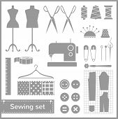 stock photo of mannequin  - Set of flat vector icons with sewing elements - JPG