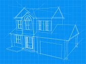 image of blueprints  - An illustration of a blueprint for an new house under construction - JPG