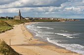 stock photo of tyne  - Long Sands South Beach at Whitley Bay a thriving tourist destination near tynemouth and Newcastle upon Tyne - JPG