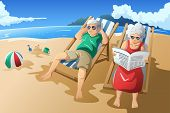 stock photo of couple sitting beach  - A vector illustration of happy senior couple enjoying their retirement at the beach - JPG