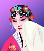 picture of shy woman  - Women dressed in Chinese opera and shy acting - JPG