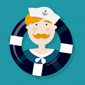 stock photo of ginger man  - Cute ginger sailor cartoon character in a lifebuoy - JPG