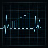 picture of ecg chart  - Heartbeat make business graph  - JPG