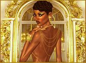 image of evening gown  - An elegant woman with a bare back evening gown is draped in gold chains and jewelry - JPG