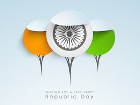 stock photo of ashoka  - Happy Indian Republic Day concept with stickers in national flag colors with Ashoka Wheel on blue background - JPG