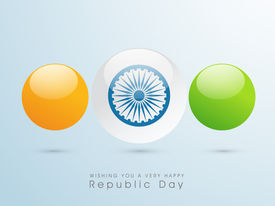 image of ashoka  - Happy Indian Republic Day concept with glossy balls in national flag colors with Ashoka Wheel on blue background - JPG