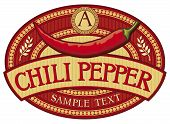 foto of chili peppers  - chili pepper label vector illustration on white background - JPG