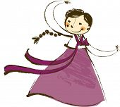 picture of hanbok  - The view of girl is wearing a Korean traditional clothes - JPG