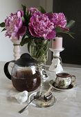 pic of pompous  - bouquet of peonies on the table tea break - JPG