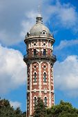 foto of lightning-rod  - old tower with antennas against the sky - JPG