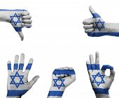 foto of israel people  - A set of hands with different gestures wrapped in the flag of Israel - JPG
