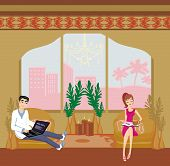 picture of youg  - youg couple relaxing at home  - JPG
