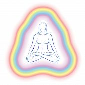 image of aura  - Aura or subtle body of a meditating woman in yoga position - JPG