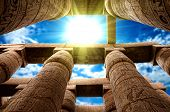 stock photo of hieroglyphic symbol  - Close up of columns covered in hieroglyphics - JPG