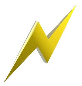 stock photo of lightning bolt  - Power or high voltage hazard 3D sign - JPG