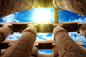 image of hieroglyphic  - Close up of columns covered in hieroglyphics - JPG