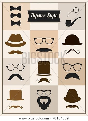Hipster style mustaches hat vector