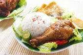 pic of malaysian food  - Popular Indonesian local food nasi ayam penyet - JPG