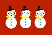 stock photo of evil  - Snowmen on a red background doing see no evil - JPG
