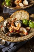 image of clam  - Homemade Italian Seafood Cioppino with Mussels Clams and Shrimps - JPG