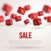 stock photo of cube  - Sale poster - JPG