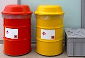 stock photo of hazardous  - Barrels for dangerous and hazardous waste disposal - JPG