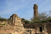 picture of forlorn  - Forlorn stone structures near Victory Tower at Chittorgarh Fort Rajasthan India Asia - JPG