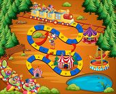 foto of circus clown  - Circus themed board game with fun park - JPG
