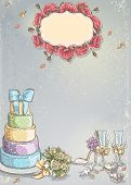 pic of ring-dove  - Wedding invitation with a picture of wedding items cake wine glasses a bouquet of roses doves - JPG