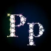 stock photo of letter p  - Diamond glittering letter  - JPG
