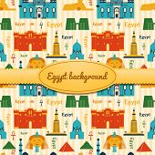picture of ankh  - Landmarks of Egypt vector background in flat style with ribbon and label - JPG