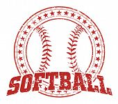 pic of softball  - Illustration of a softball design in vintage distressed style with a circle of stars - JPG