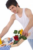 Breakfast - Young Man Holding Tray With Rose