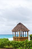 picture of pergola  - Lifeguard pergola on caribbean beach Cancun Mexico - JPG