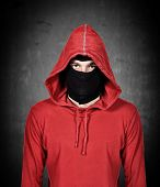 pic of terrorist  - terrorist with red hoodie and mask on a white background - JPG
