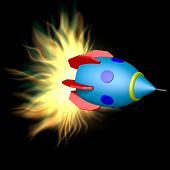 picture of plasmatic  - Toy rocket with plasma engine on black background - JPG