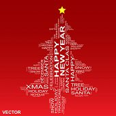 picture of christmas song  - Vector conceptual Christmas or Happy New Year fir tree made of text as wordcloud isolated on red background - JPG