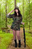 pic of m16  - Beautiful young woman soldier with a M16 rifle - JPG