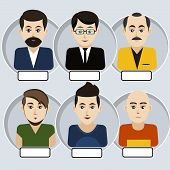 picture of emo-boy  - Set of stylish avatar of male icons in flat design - JPG