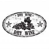 picture of oval  - Black grunge oval rubber stamp with grapes and the text dry wine written inside the stamp - JPG