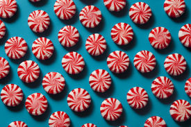picture of peppermint  - Sweet Red and White Peppermint Candy in a Bowl - JPG