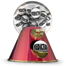 foto of gumball machine  - Prediction word on gumballs in machine or dispenser to illustrate a prophesy from a fortune teller or someone predicting the future - JPG