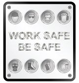 pic of ppe  - Monochrome construction manufacturing and engineering health and safety related sign isolated on white background - JPG