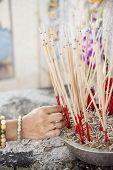 pic of graveyard  - joss stick pot at the graveyard - JPG