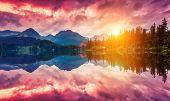 stock photo of fantastic  - Fantastic mountain lake in National Park High Tatra - JPG