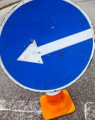pic of turn-up  - Turn left sign on the traffic cone - JPG