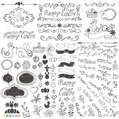 foto of baby easter  - Doodles easter decor elements set - JPG