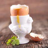 stock photo of boil  - soft boiled egg - JPG
