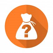 stock photo of riddles  - riddle orange flat icon   - JPG